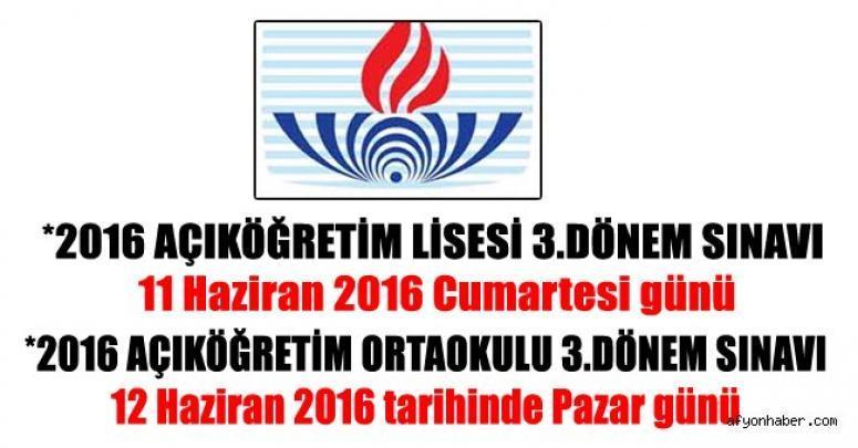 2016 AÇIKÖĞRETİM LİSESİ 3.DÖNEM SINAVI