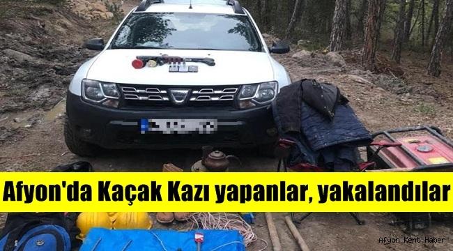 Afyon'da kaçak kazı yapan 4 şahıs yakalandı!