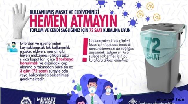 Afyonkarahisar Belediyesi'nden kullanılmış maskeleri ve eldivenleri atmayın