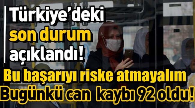 Türkiye'de son 24 saatte 92 kişi Coronavirüs'ten yaşama veda etti