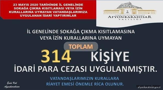 Afyon'da 314 kişiye İdari para Cezası uygulandı !