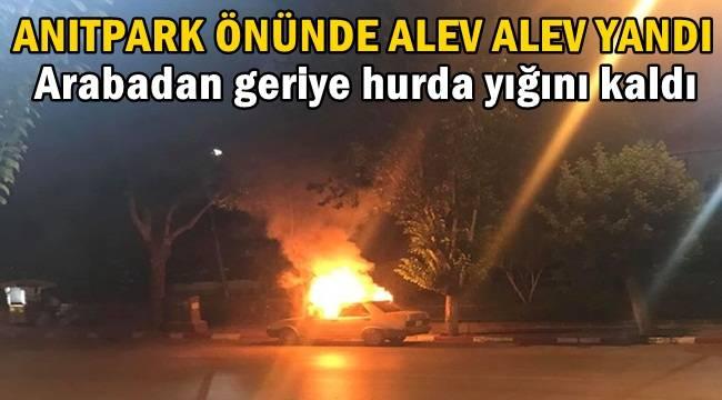Anıtpark önünde Araç alev alev yandı !!