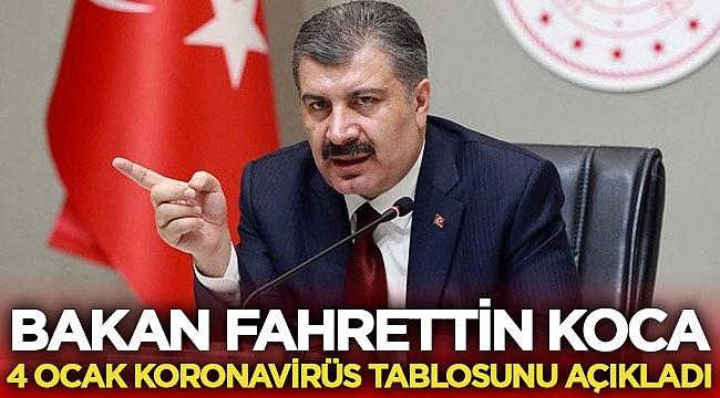 Türkiye 4 Ocak 2021 Korona tablosu