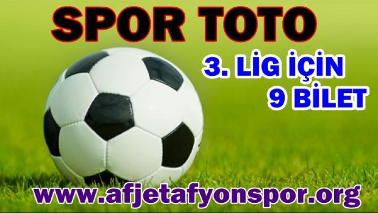 Spor Toto 3.Lig İçin, 9 Bilet !!!