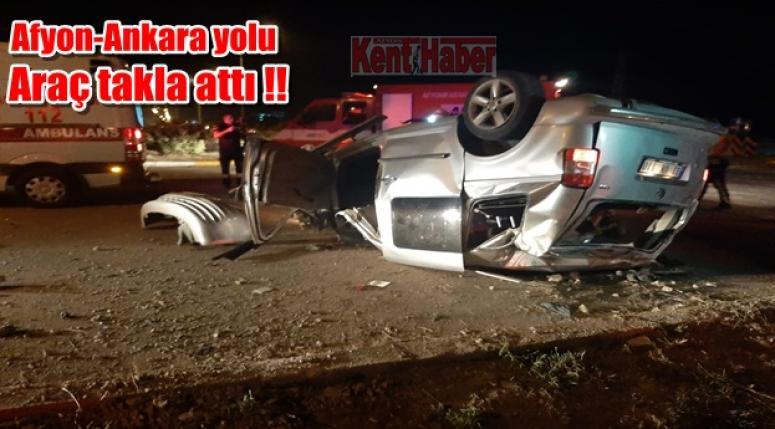 Afyon trafik kazası !! Araç takla attı, 2 yaralı var..