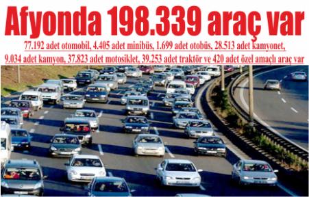 Afyonda 198.339 araç var