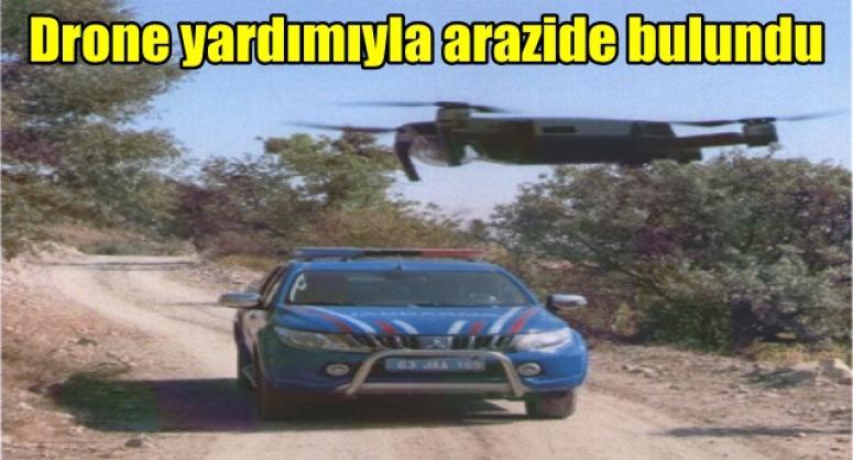 Drone yardımıyla arazide bulundu !!