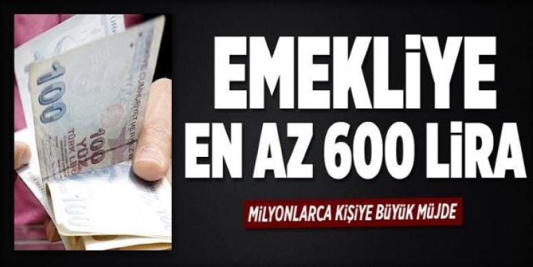 Emekliye en az 600 lira