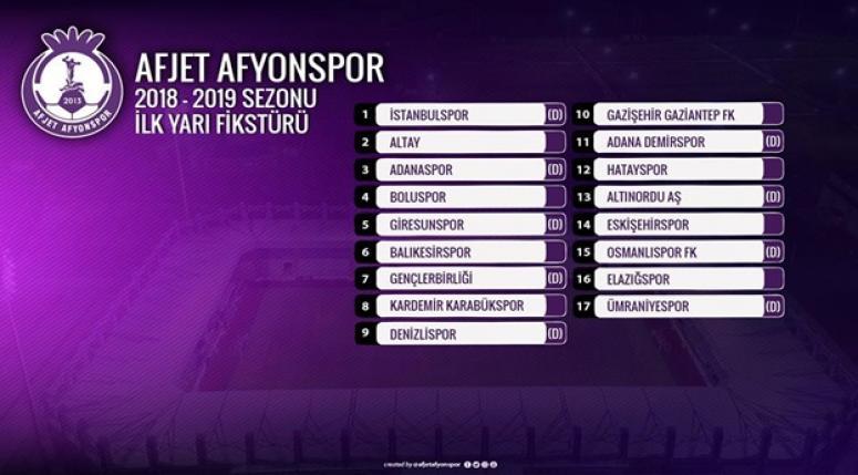 Afjet Afyonspor Haber - 1.Lig 2018-2019 Fikstürü belli oldu !!!
