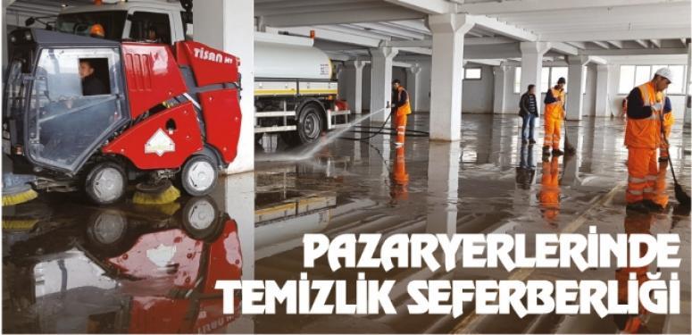 AFYON PAZAR YERLERİNDE TEMİZLİK SEFERBERLİĞİ