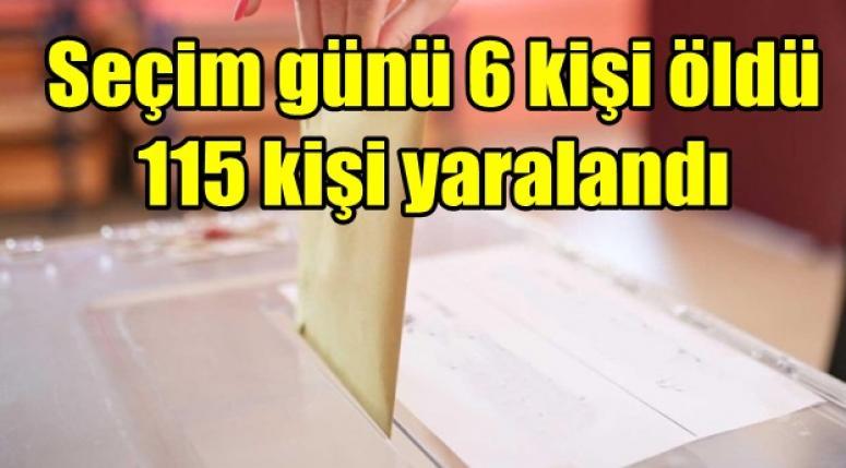 Seçim günü 6 kişi öldü 115 kişi yaralandı