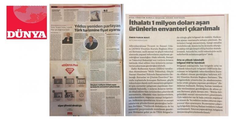 SERTESER'İN ÖNERİLERİ DÜNYA GAZETESİ'NDE YER ALDI