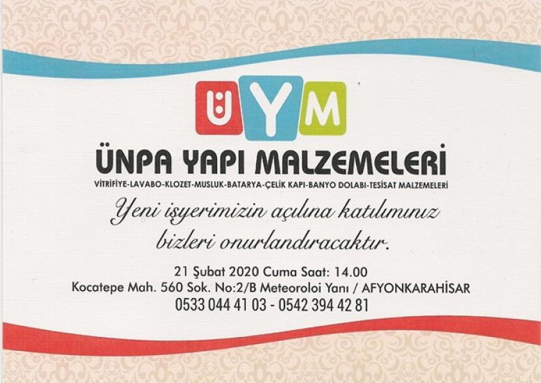 ÜNPA Yapı Malzemeleri yarın Afyon'da açılıyor !!